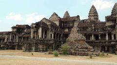 Angkor Wat temple, Siem Reap, Cambodia Stock Footage