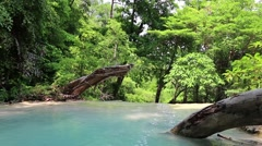 Seven-tiered Erawan Waterfall in Erawan National Park in western Thailand Stock Footage