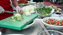 Chef Chopping Salad Ingredients Stock Footage