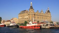 Haydarpasa central station building in Istanbul. Stock Footage