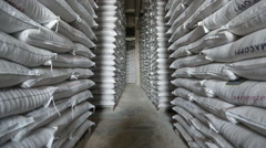 Bags of rice seeds stored in warehouse tilt low angle shot with canon 5D MarkIII Stock Footage