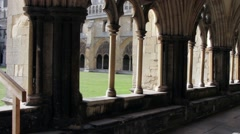 Norwich Cathedral cloisters - stock footage