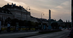 Museumsquartier and Volkstheater Vienna at Dawn // 4k Timelapse Stock Footage
