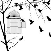 bird cage silhouettes - stock illustration