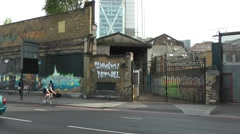 Shoreditch Art Wall east end London Stock Footage