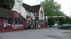 Village Pub With England Flags Stock Footage