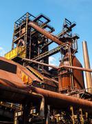 blast furnace in steel factory - stock photo