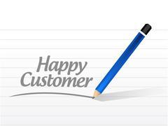 happy customer message illustration design - stock illustration