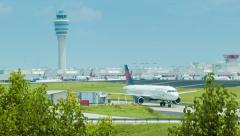 Atlanta International Airport Control Tower and Plane Stock Footage