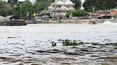 Boat Transportation on Chao Phraya River at Phra Pok Klao Bridge Stock Footage