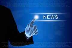 Business hand clicking news button on touch screen Stock Illustration