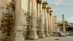 Hadrians Library at Acropolis of Athens Greece 010 Stock Footage