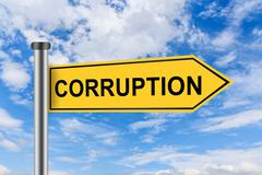 Yellow road sign with corruption words Stock Illustration