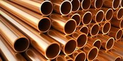 Stock Illustration of copper round pipes.  industrial 3d illustration