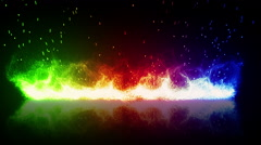 Rainbow flaming fire and reflection loop Stock Footage