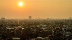 A Hazy Sunset Above Jakarta Skyline, Wide View - stock footage