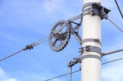 Overhead line of railway tracks - stock photo