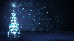 blue christmas tree of glowing particles loop - stock footage
