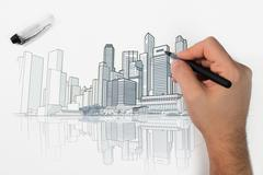 Skyline perspective drawing Stock Photos