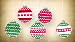 Vintage christmas balls loopable animation Stock Footage