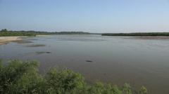 Wide Missouri River in Great Plains Stock Footage