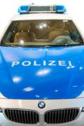 Closeup front view of new modern german police car Kuvituskuvat