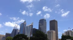 Sydney skyline from the botanica gardens in Australia Stock Footage