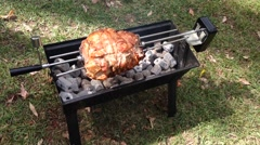 Pork meat on a barbecue in a park in Australia Stock Footage
