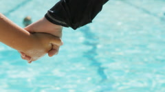 Kids Holding Hands Near Pool Stock Footage