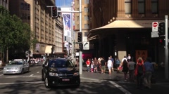 Tilt from the street to the Sydney tower downtown Sydney, Australia Stock Footage