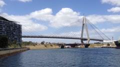 Anzac bridge in Sydney, Australia Stock Footage