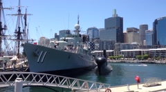 Marine ship at the Australian National Maritime Museum in Darling Harbour Stock Footage