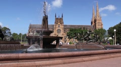 St Mary's Cathedral at hyde park in Sydney, Australia Stock Footage