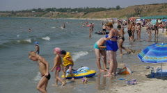 Stock Video Footage of The beach on the Sea of Azov