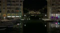 Night scene in Frejus Marina, French Riviera, France, Europe. Stock Footage