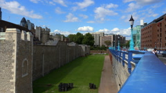 Blue balustrade of Tower Bridge and the Tower of London - stock footage