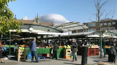Stalls at Birmingham outdoor market. Stock Footage