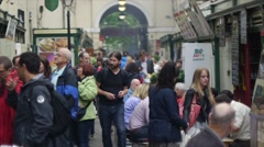 Busy External Food English Food Market Stock Footage