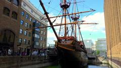 Old Sailing Ship near London Bridge Stock Footage