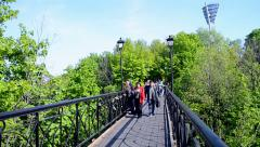 Bridge of Lovers  in Kiev, Ukraine. Stock Footage