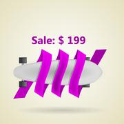 Ad layout for gray longboard with price. - stock illustration