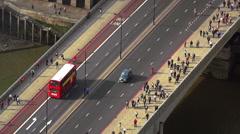 Stock Video Footage of London Bridge great aerial shot