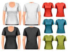 Stock Illustration of set of colorful female t-shirts. vector