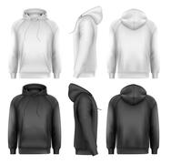 set of black and white male hoodies with sample text space. vector - stock illustration