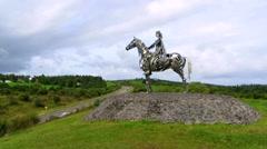 Gaelic Chieftain Statue Ireland Stock Footage