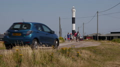 The New Lighthouse at Dungeness, Kent, England Stock Footage