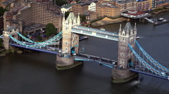 The Tower Bridge London aerial view - stock footage