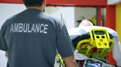 Injured man arriving at the hospital Stock Footage