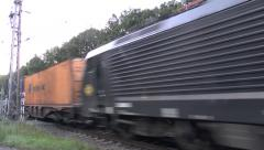 Goods train (with audio) passing over a level crossing in Holland. Stock Footage