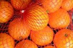fresh orange oranges in plastic netting - stock photo